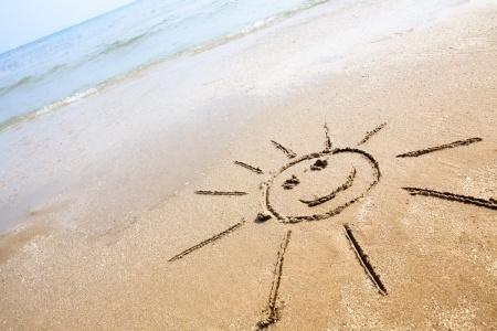 砂浜にニコちゃんマーク