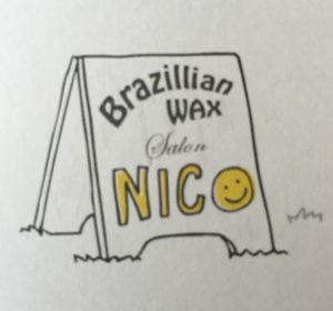 名刺の表デザイン 看板にNICObrazilianwaxロゴ