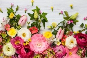 白い壁の前にチューリップやラナンキュラスなどのピンクや白や黄色の花がランダムに並んでいる